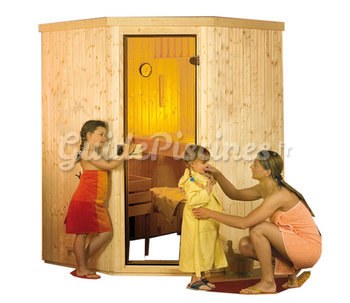 sauna lambris en angle sarna et po le. Black Bedroom Furniture Sets. Home Design Ideas