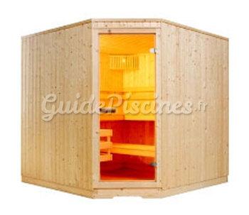 sauna lambris standard en angle et po le evasion. Black Bedroom Furniture Sets. Home Design Ideas